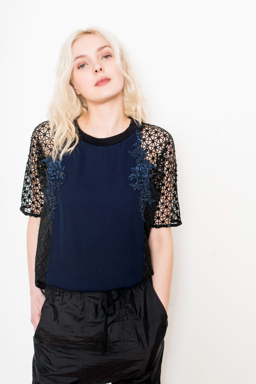 KANE TEE – Indigo Twill + Schiffly + Chemical Lace – 100% POLYESTER